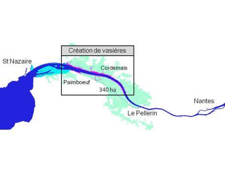 Localisation envisagée pour le scénario d'intervention dans l'estuaire de la Loire